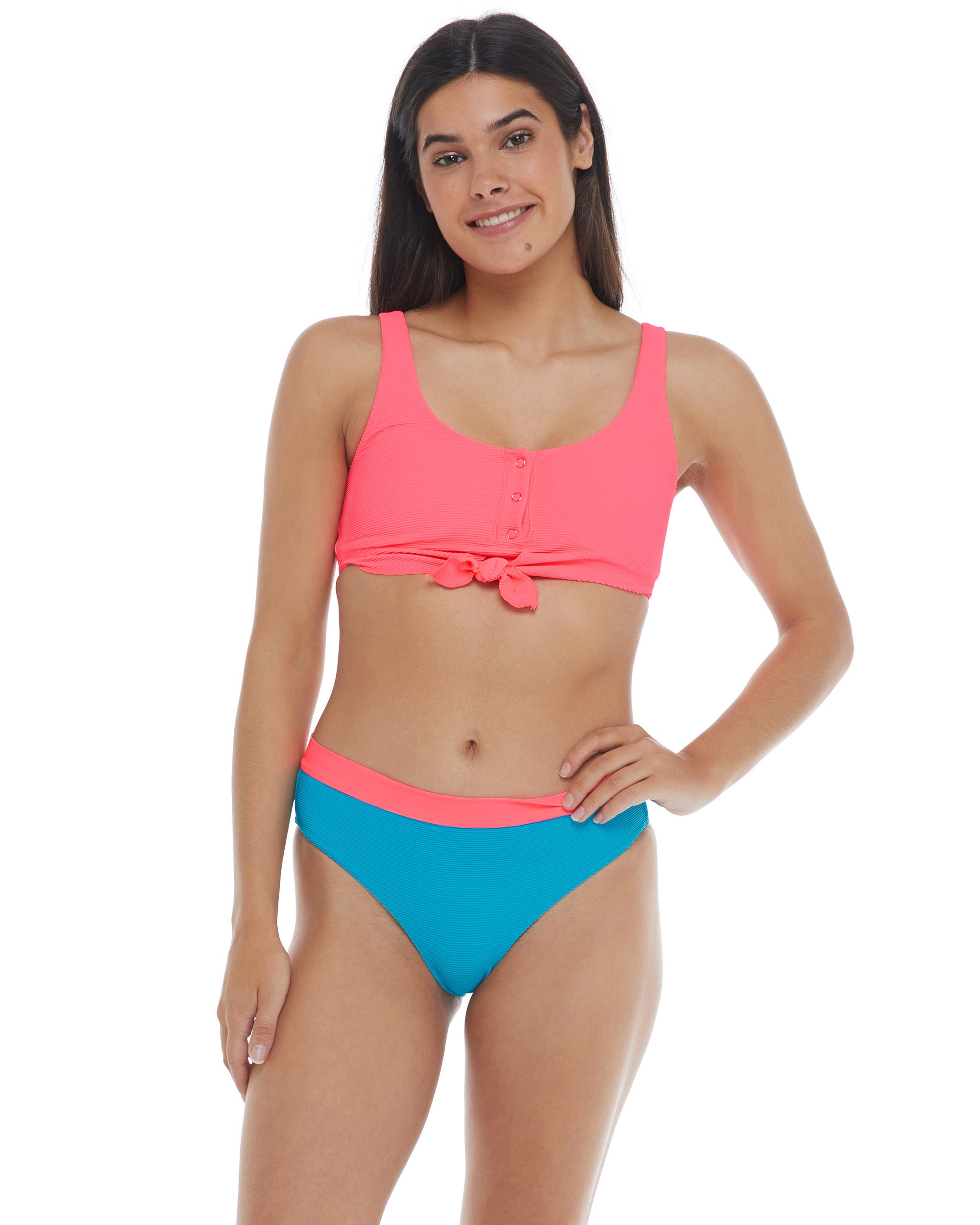 Spectrum Kate Crop Tank Bikini Top  - Neon Pink