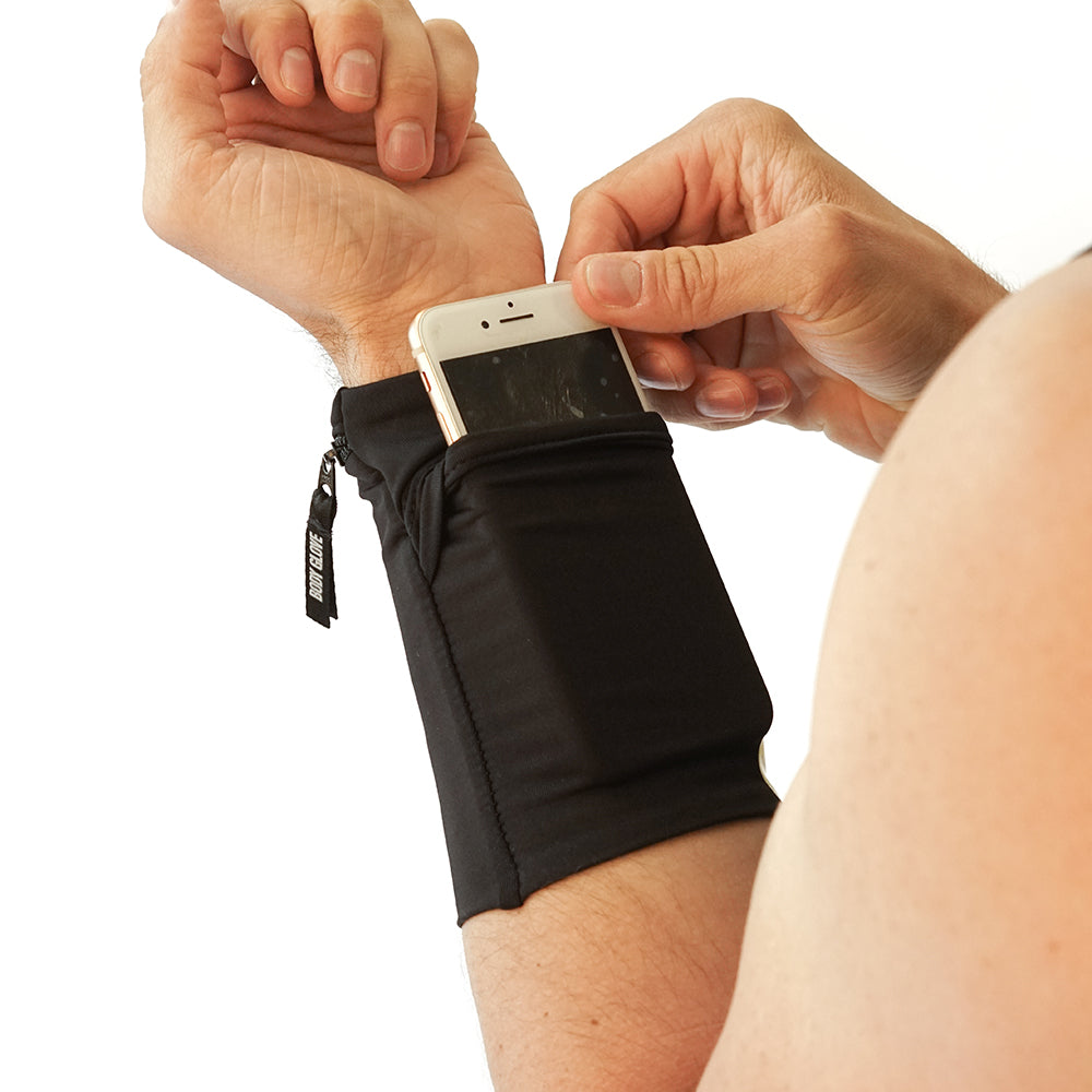 Two-Pocket Fitness Wrist Wallet - Black/Black/Black