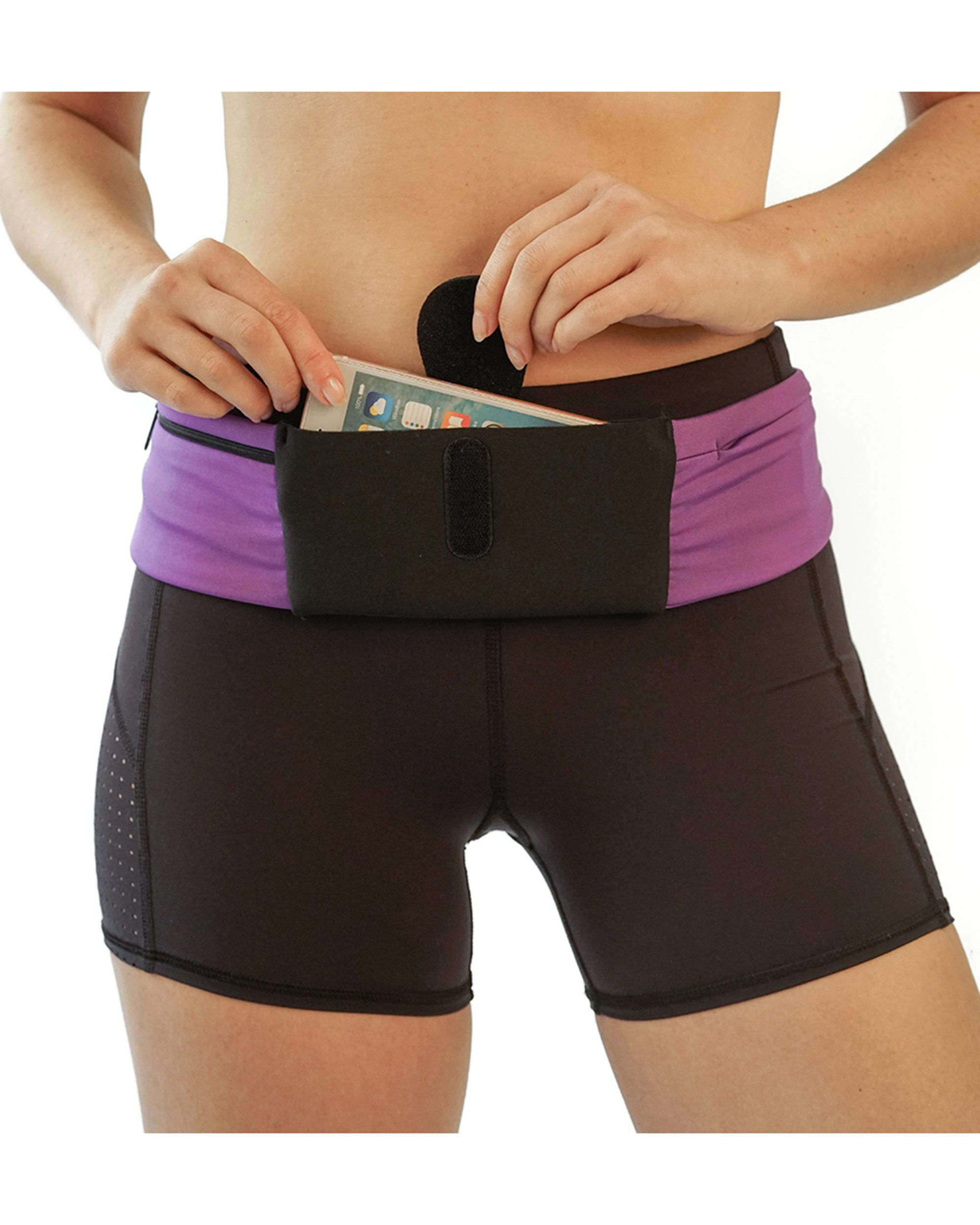 Three-Pocket Fitness Belt Pouch - Purple