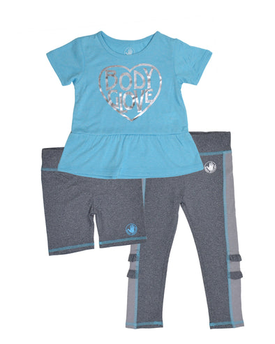 Girls' Three-Piece Heart-Print Activewear Set - Aqua Blue