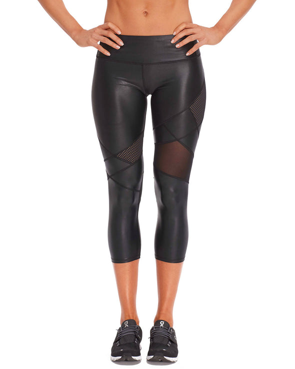 Nyx Capri Legging in Wet Print - Black