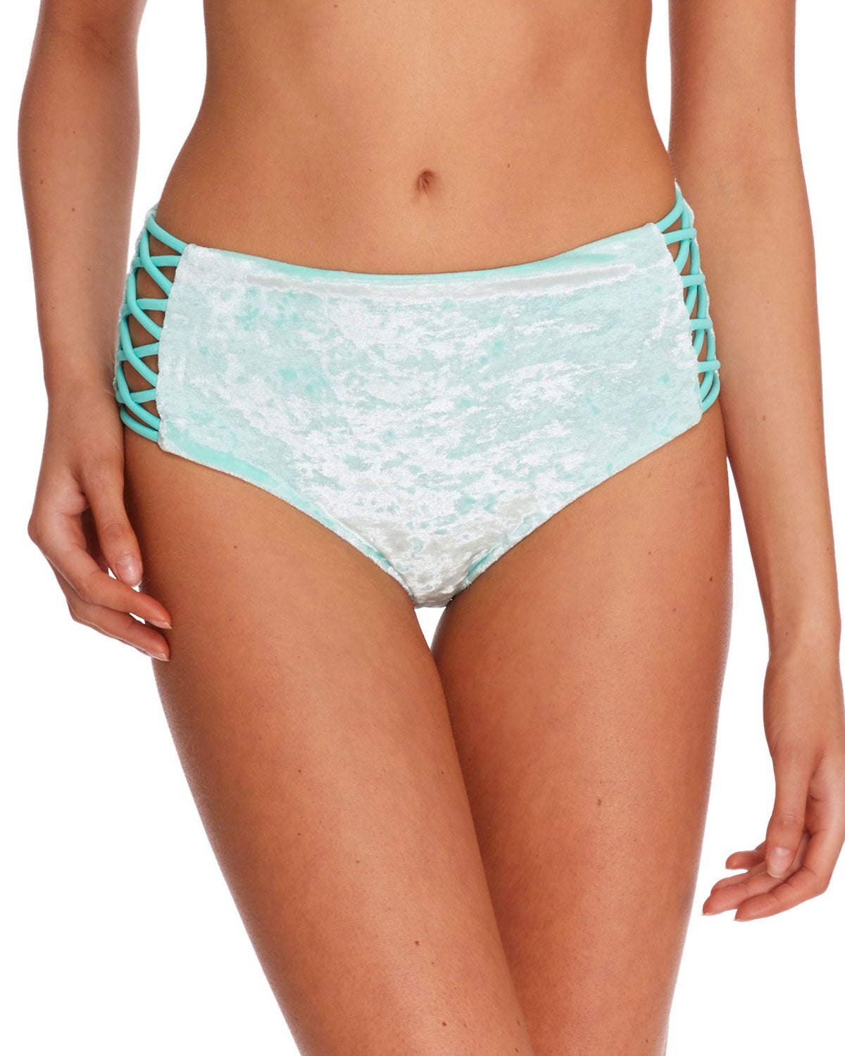 Keri Velvet Retro Swim Bottom - Seafoam