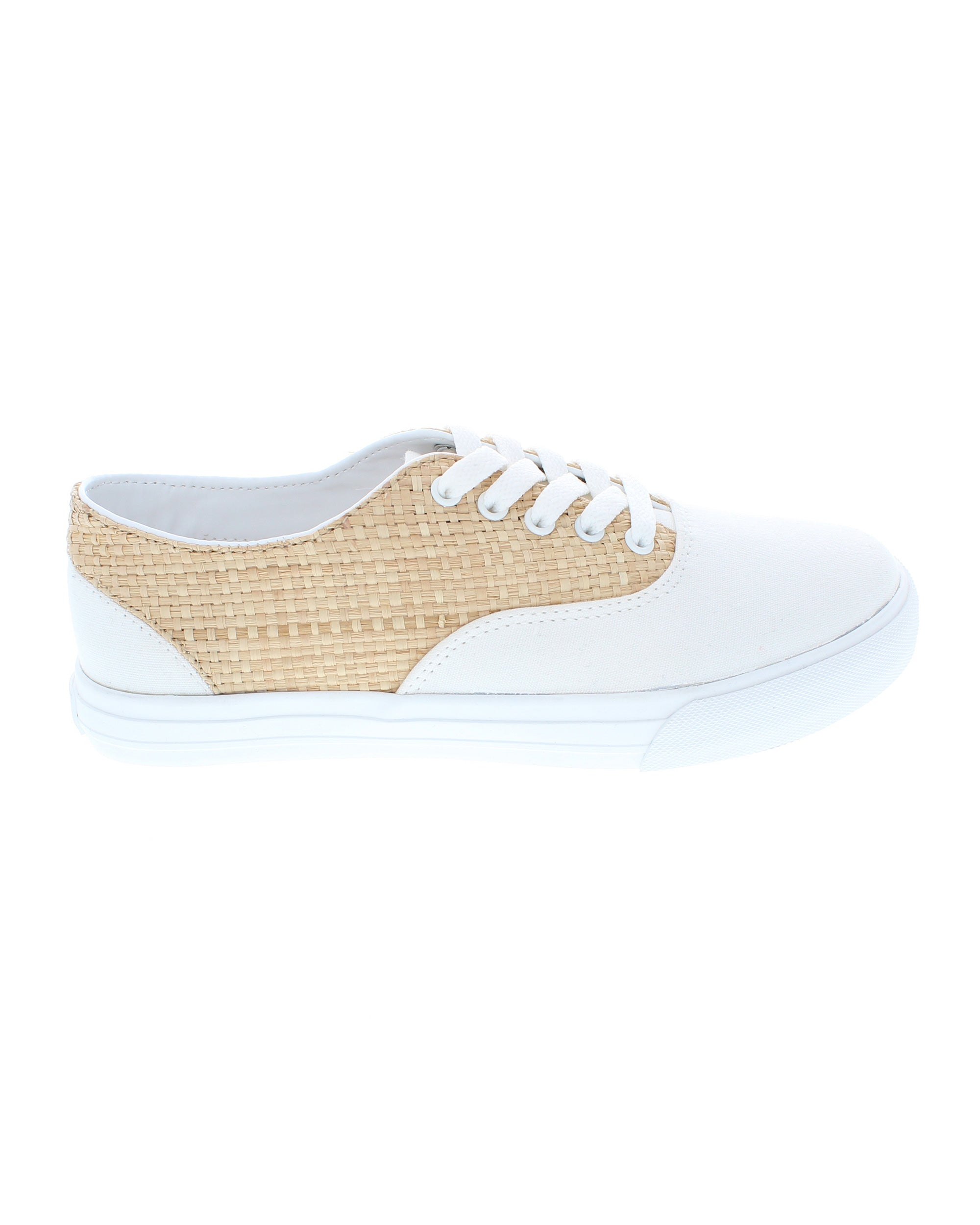 Bimini Ratan & White Canvas Lace Up