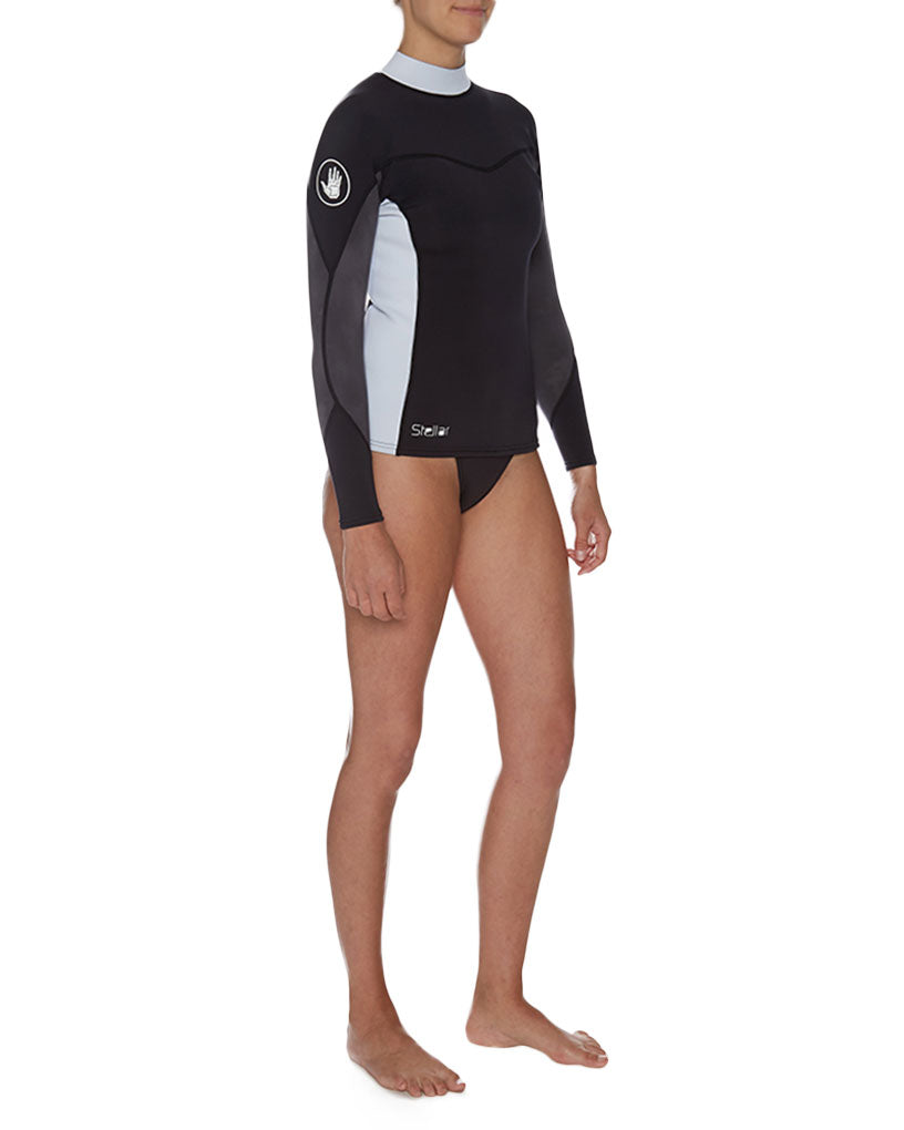 48b7badaf7 Women's Stellar 1mm Long-Arm Neoprene Wetsuit Top - Wetsuit: Black/Grey