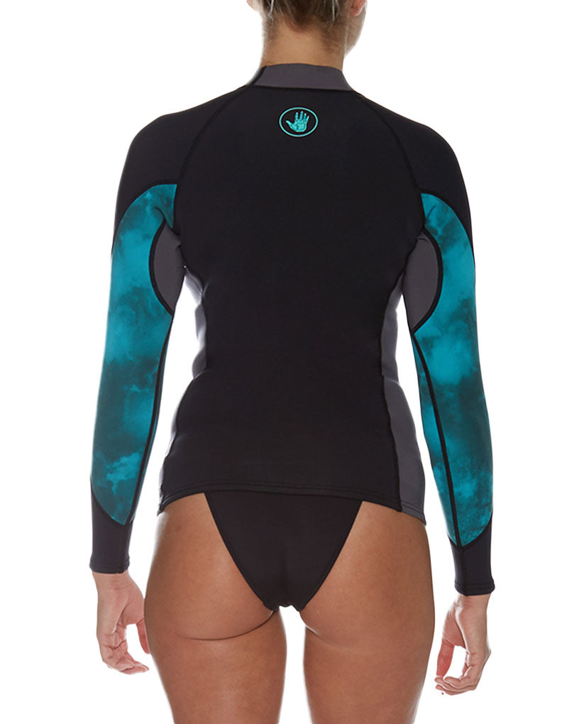 2ddc12abb3 Stellar 1mm Women's Long-Arm Neoprene Wetsuit Top - Black/Aqua