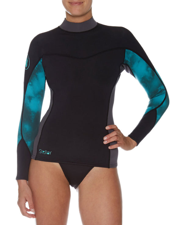 Stellar 1mm Women's Long-Arm Neoprene Wetsuit Top - Black/Aqua