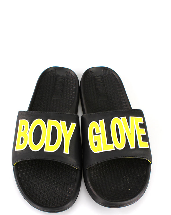 Men's Slide Away Body Glove Sandals, Black/Yellow