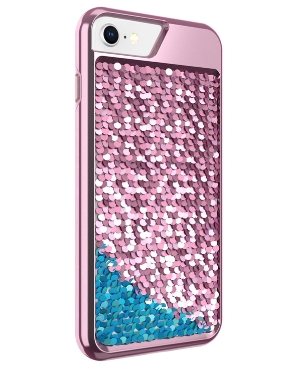 Shimmer Case for iPhone 6 Plus, iPhone 6s Plus, iPhone 7 Plus, iPhone 8 Plus - Pink/Teal