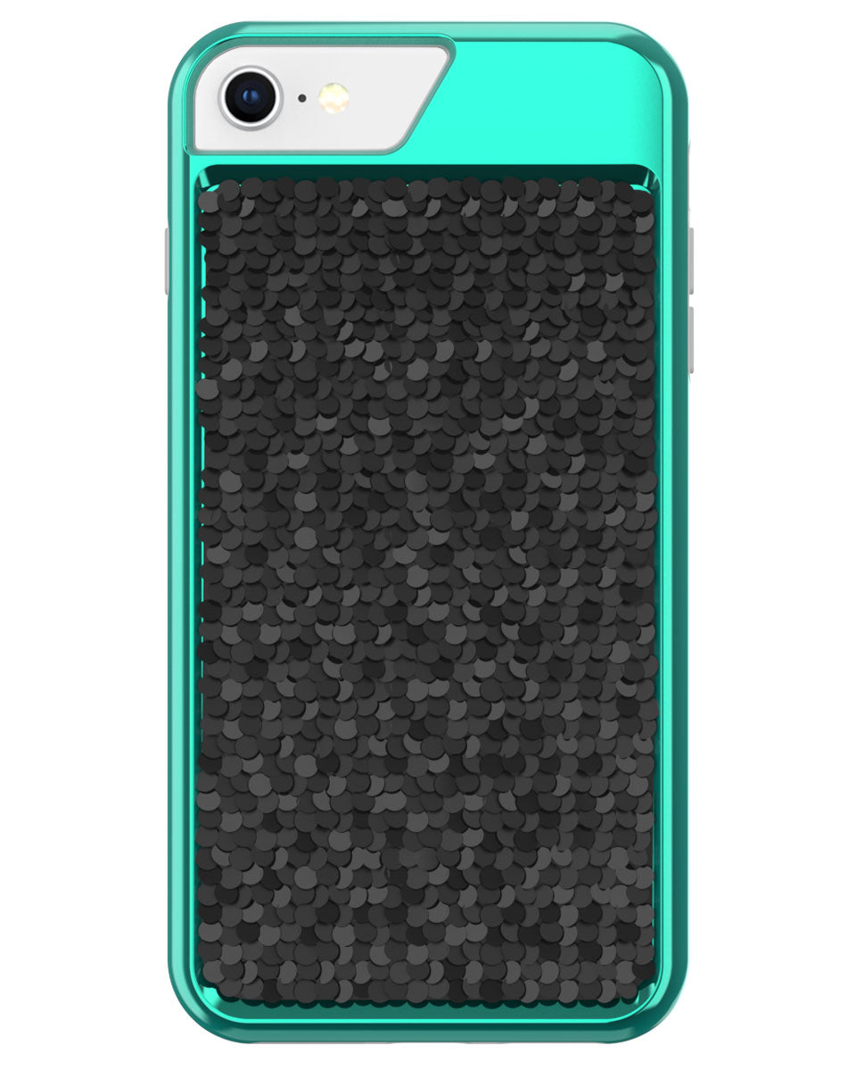 Shimmer Case for iPhone 6, iPhone 6s, iPhone 7, iPhone 8 - Iridescent Teal/Black