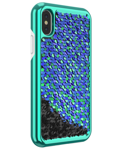 Shimmer Case for iPhone X - Iridescent Teal/Black