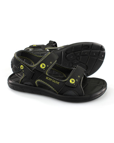 Men's Adjustable Trek Sandal in Black/Yellow
