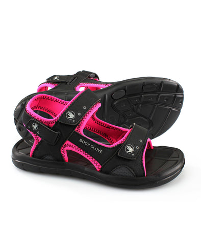 Women's Trek Sandals - Black/Neon Pink