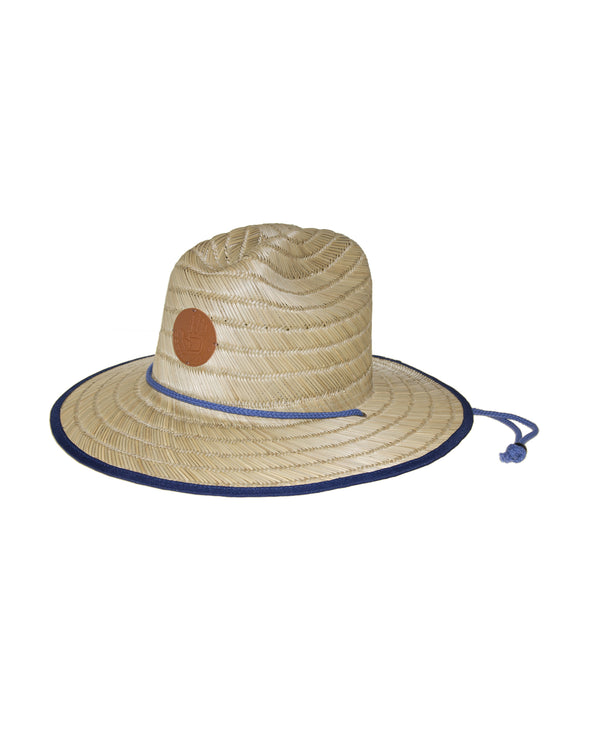 Straw Lifeguard Hat with Bungee Cord - Natural/Blue