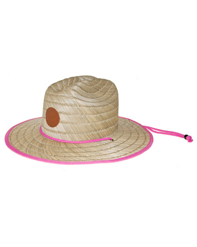 Straw Lifeguard Hat with Bungee Cord - Natural/Pink
