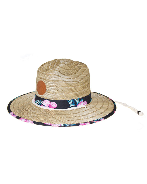 Straw Lifeguard Hat with Print Trim - Natural/Print