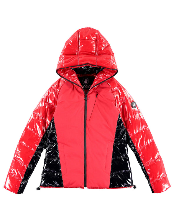 Women's Hooded Down Parka Coat - Racing Red