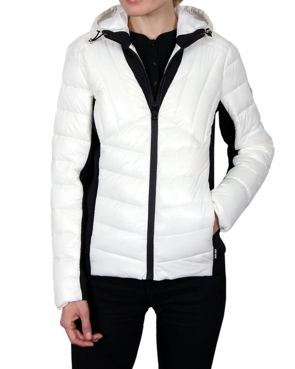 Women's Hooded Scuba-Stretch Hybrid Jacket  - White
