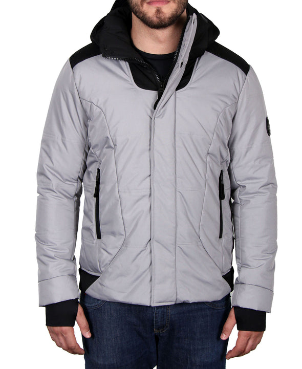 Men's Hooded Quilted Parka - Grey