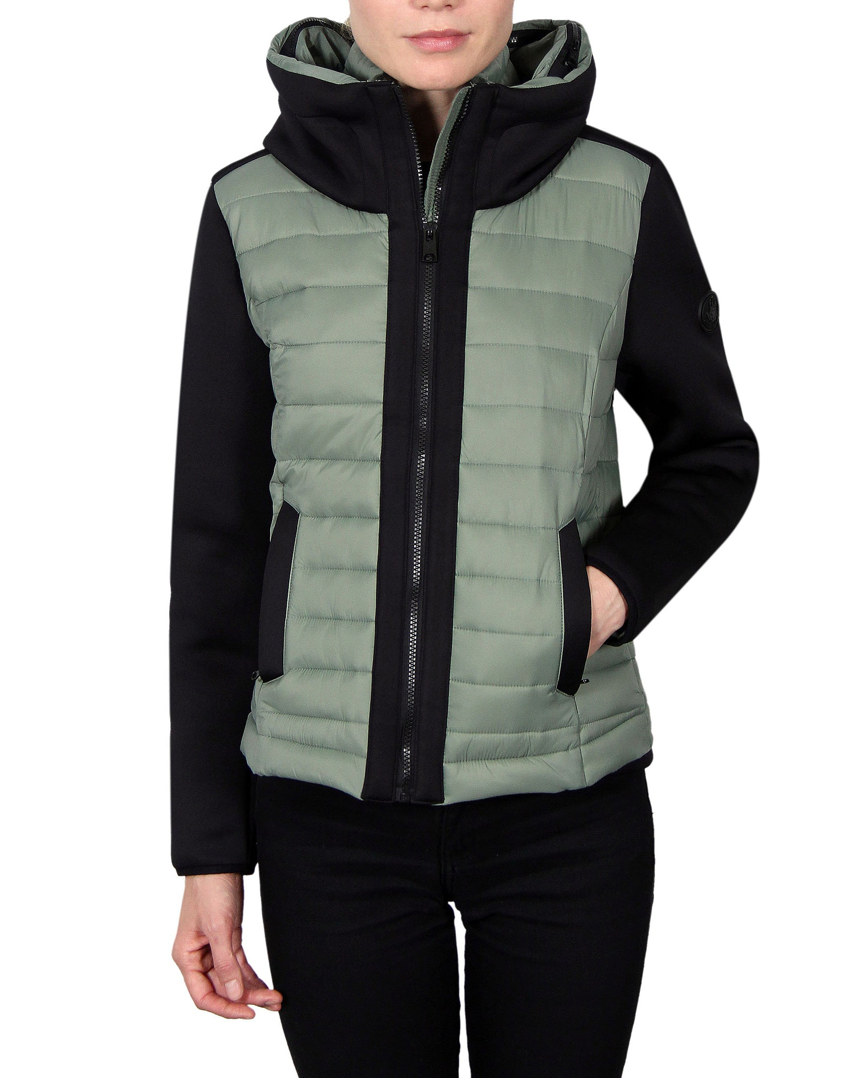 Women's Scuba-Stretch Hybrid Jacket - Agave/Black