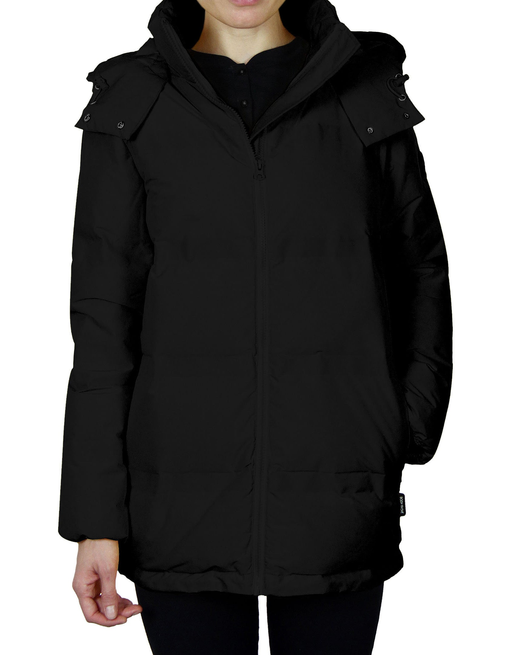 Women's Quilted Down Parka Coat - Black
