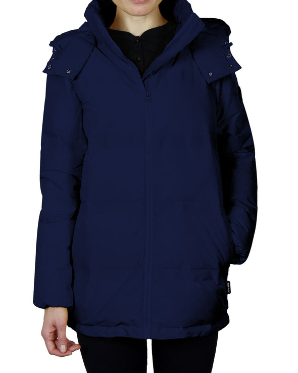 Women's Quilted Down Parka Coat - Navy