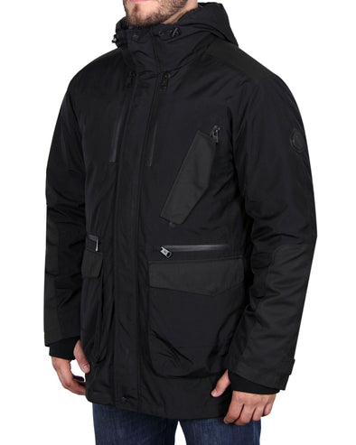 Men's Heavyweight Down Parka Coat - Black/Blue