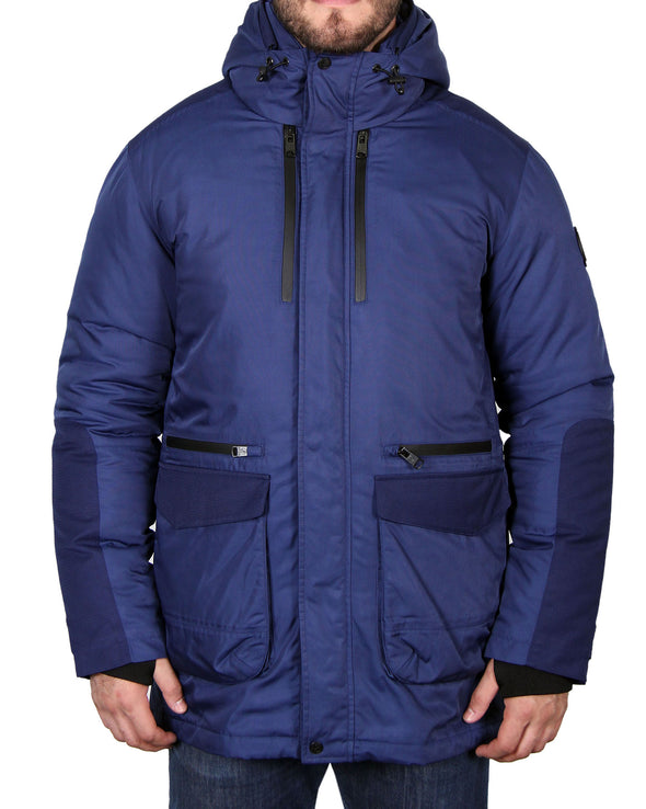 Men's Heavyweight Down Parka Coat - Navy/Medium Blue