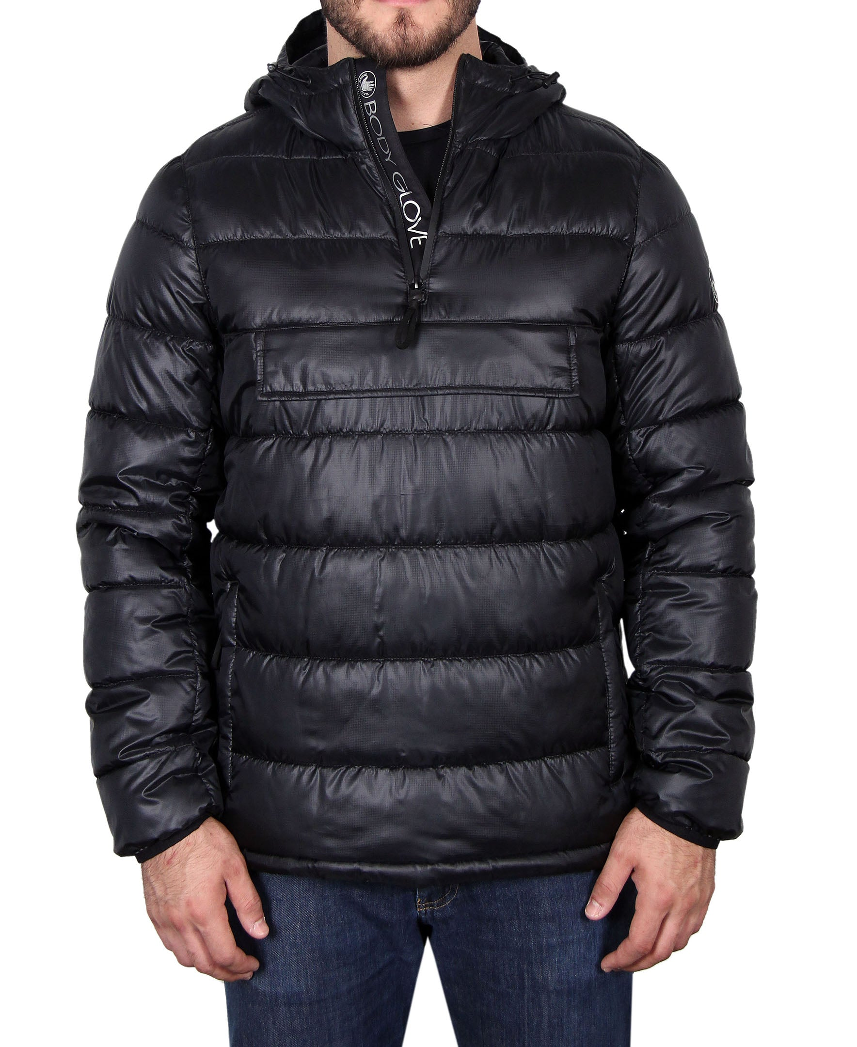 Men's Quilted Hooded Pullover - Black