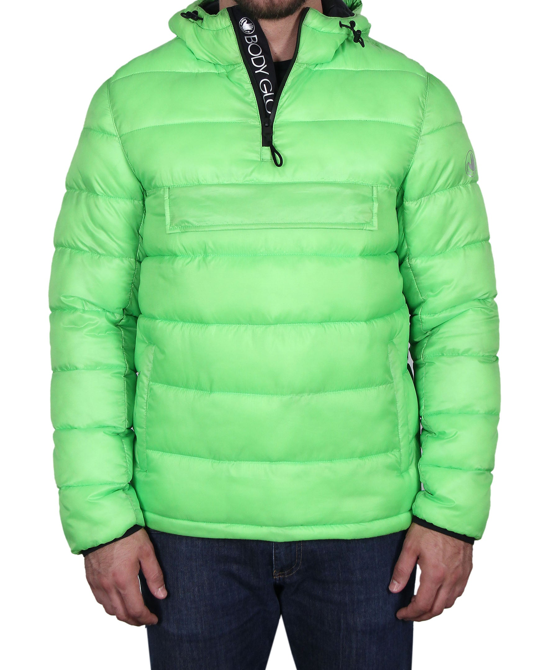 Men's Quilted Hooded Pullover - Green