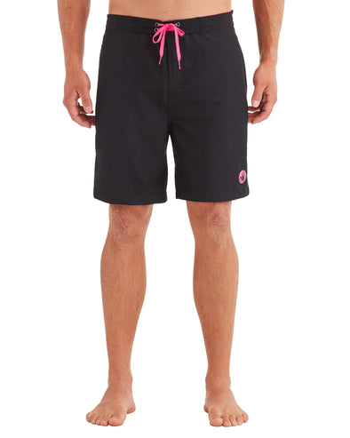 Men's Contrast E-Board Swim Short - Black/Pink