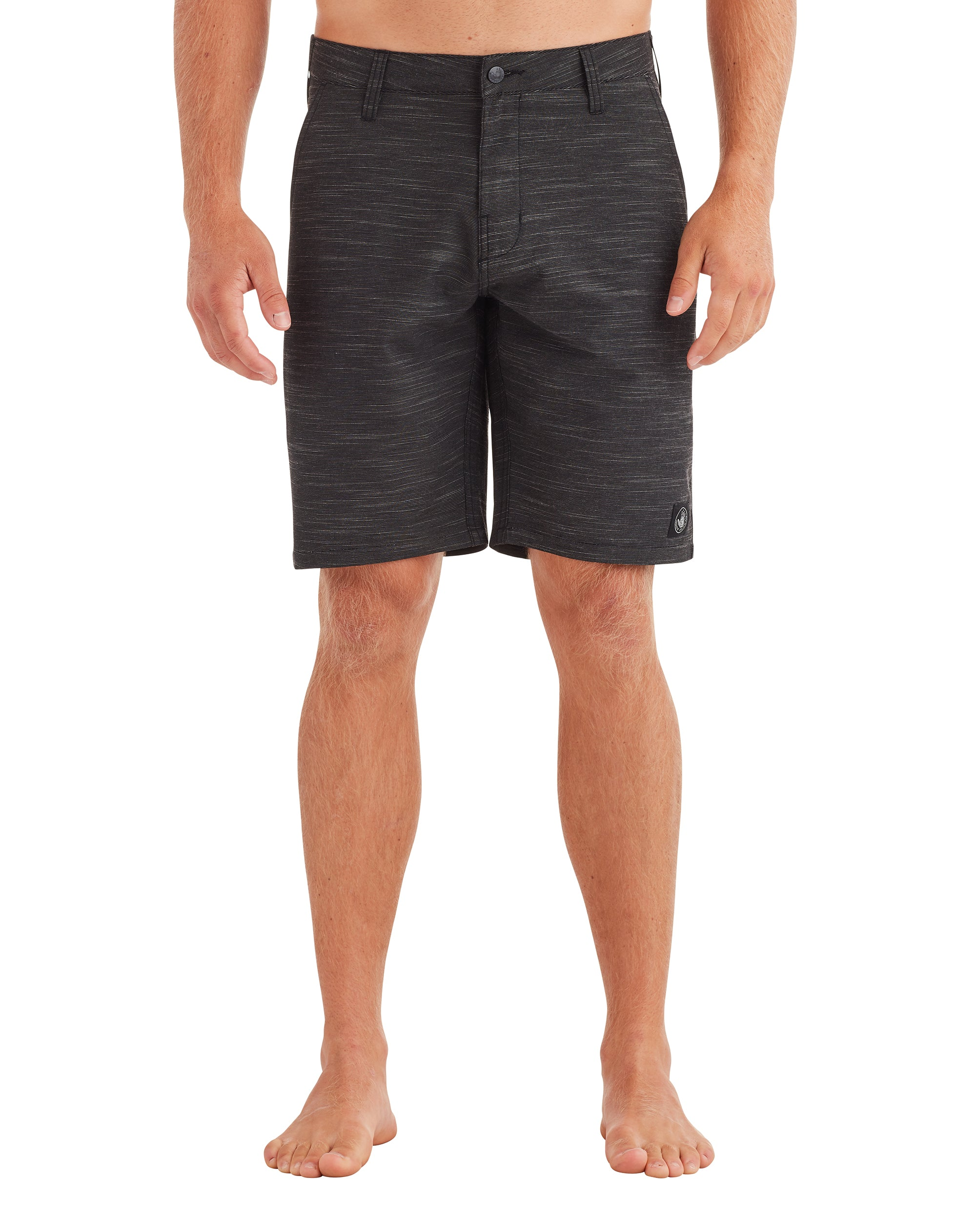 Men's Solid Slub Hybrid Swim Short - Black