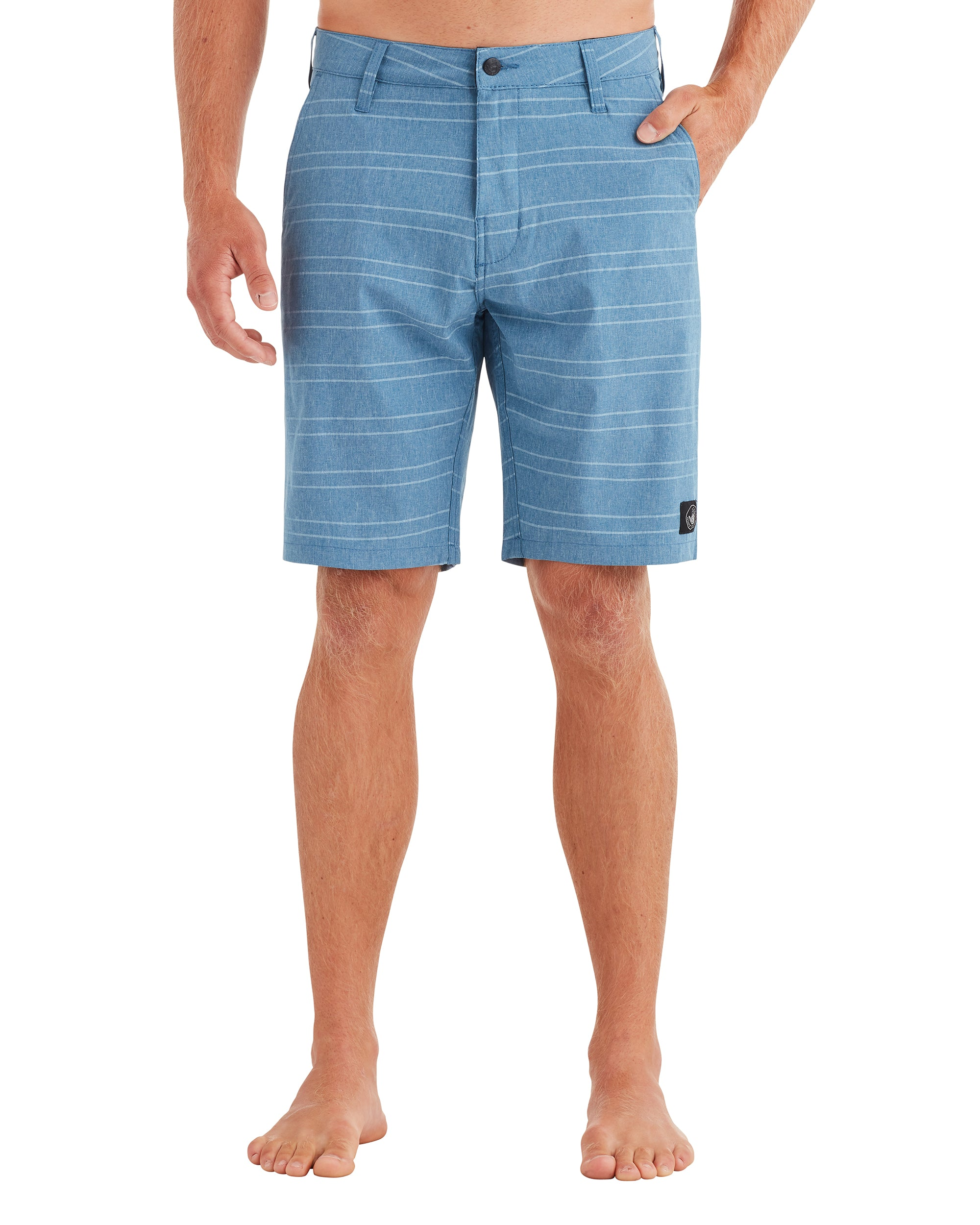 Men's Chambray Stripes Hybrid Swim Short - Blue