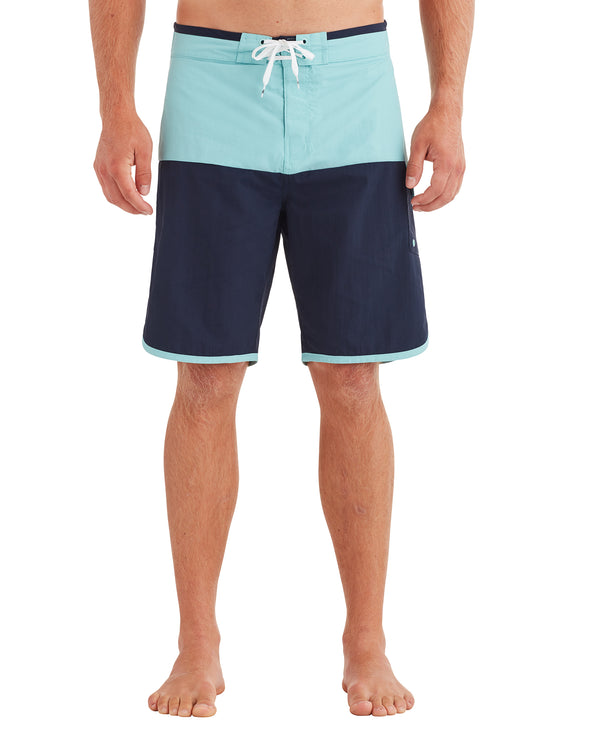 Men's Scallop Swim Short - Aqua/Navy