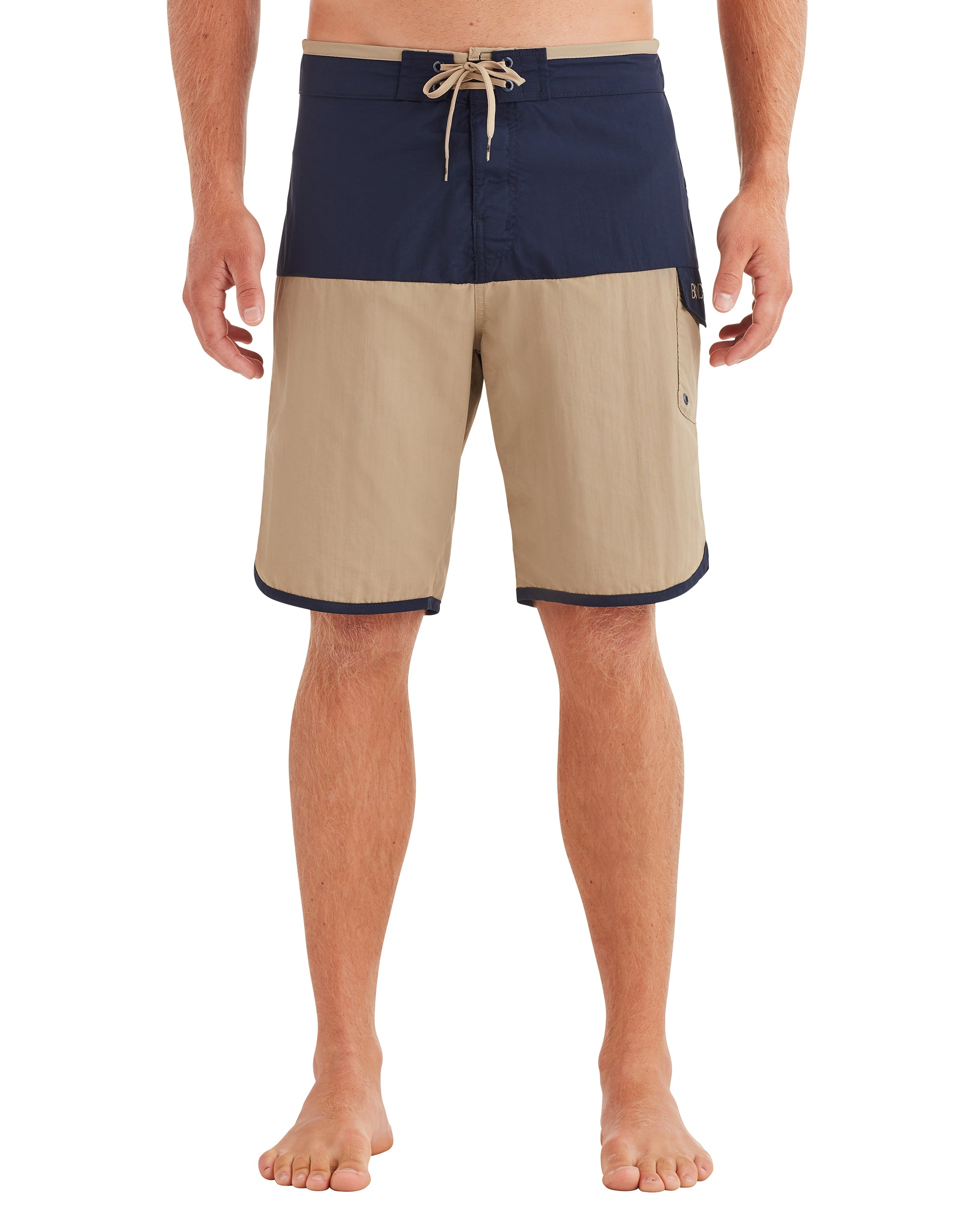 Men's Scallop Swim Short - Beige/Navy