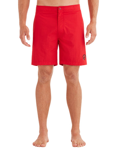 Men's Elastic Button-Front Swim Short - Red