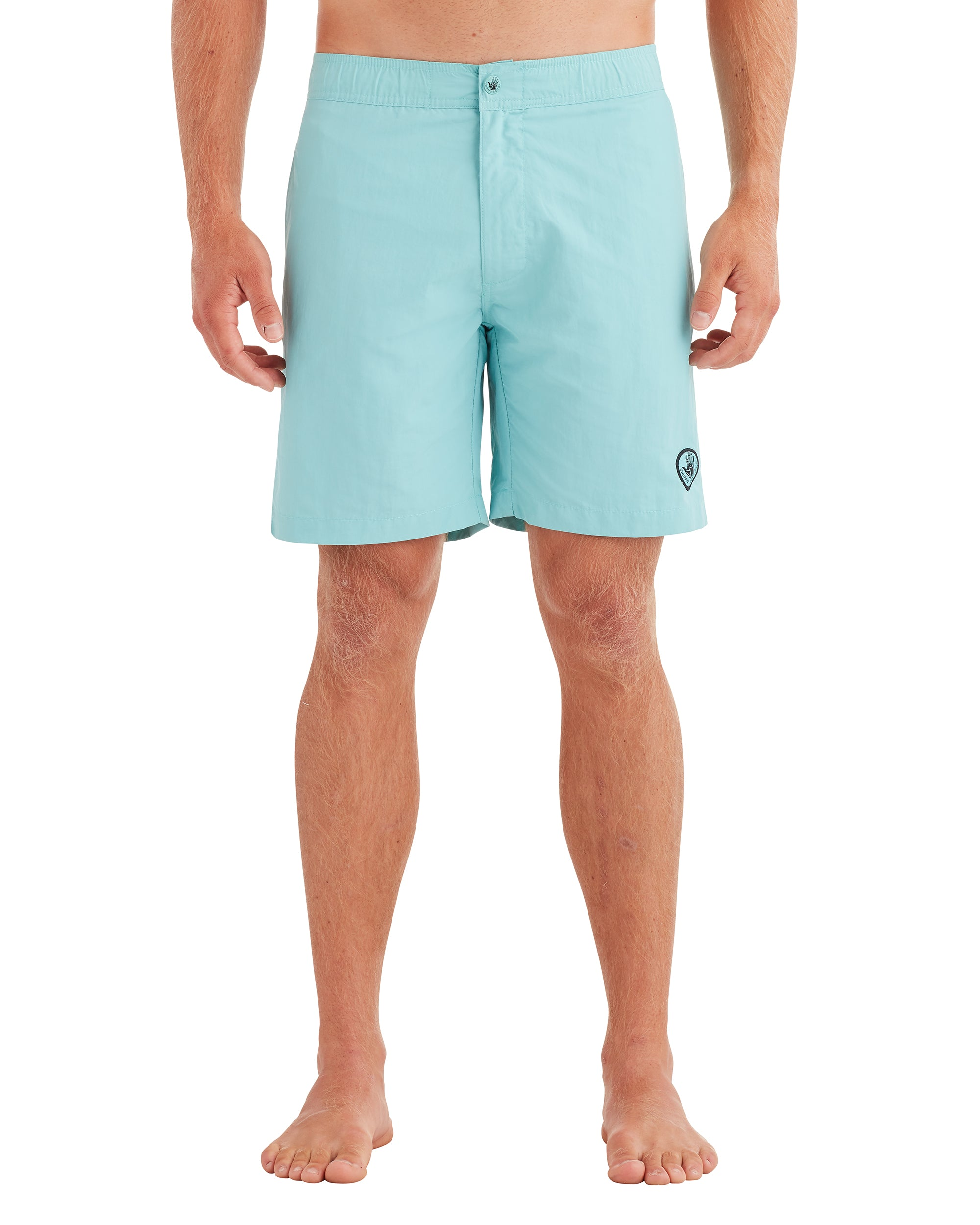 Men's Elastic Button-Front Swim Short - Aqua