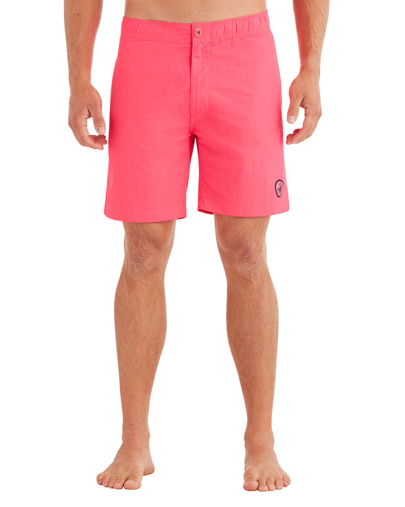 Men's Elastic Button-Front Swim Short - Neon Pink