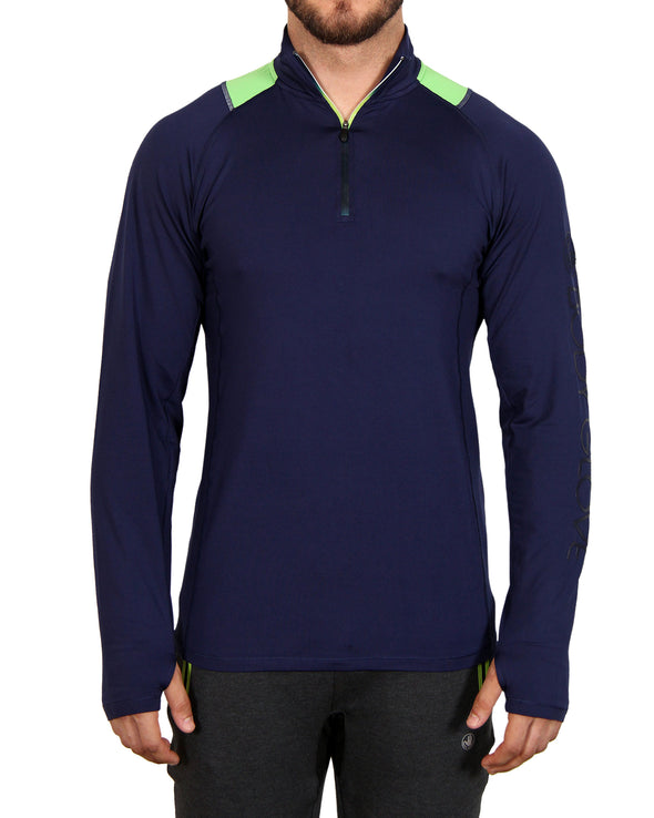 Men's 1/4-Zip Mock-Neck Top - Blue