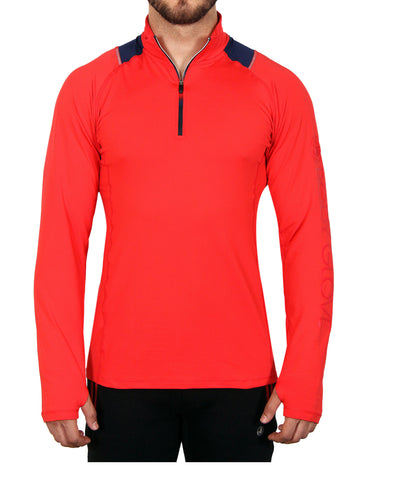 Men's 1/4-Zip Mock-Neck Top - Red