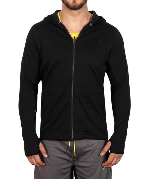 Men's Zip-Front Fleece Hoodie - Black