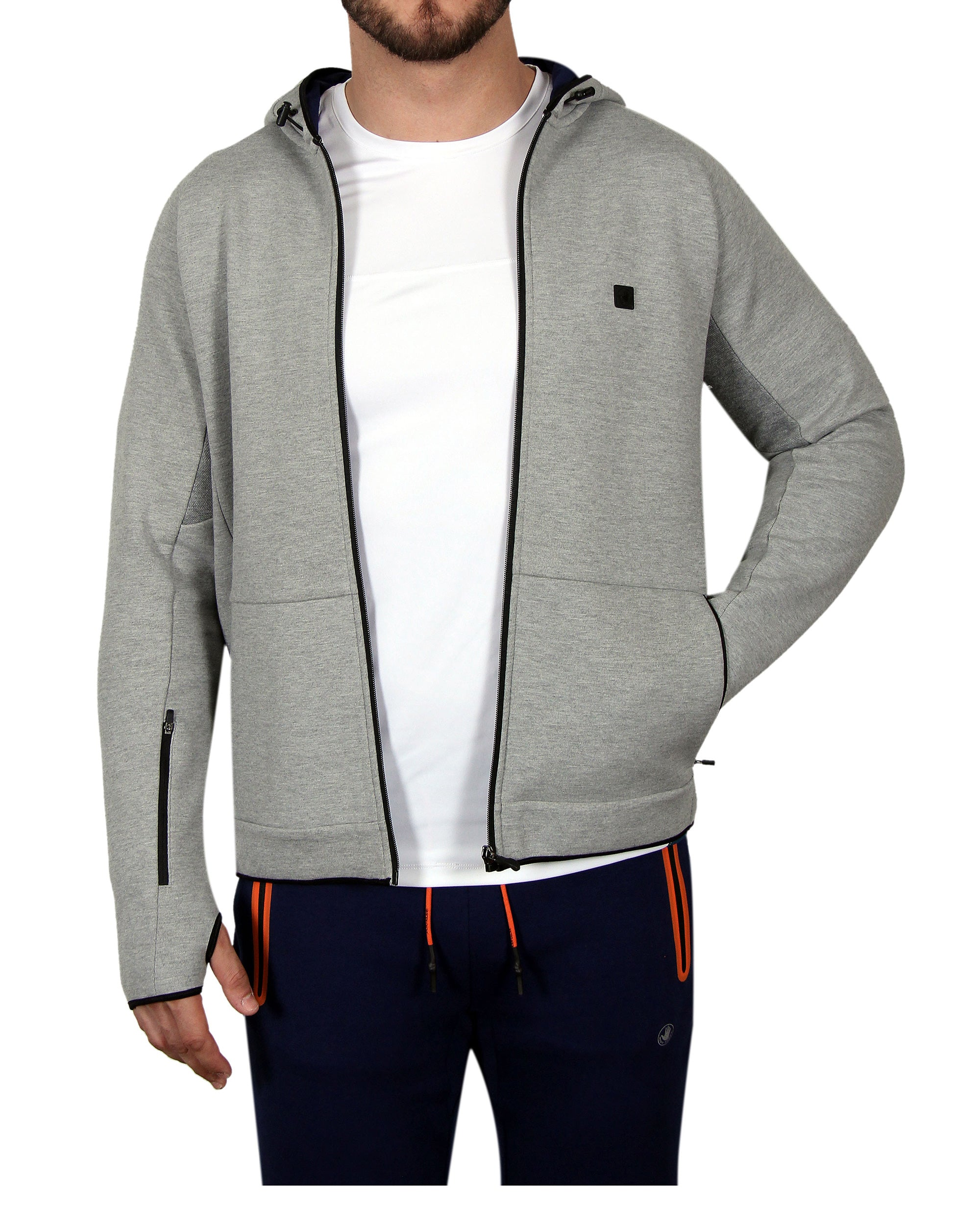 Men's Zip-Front Fleece Hoodie - Grey