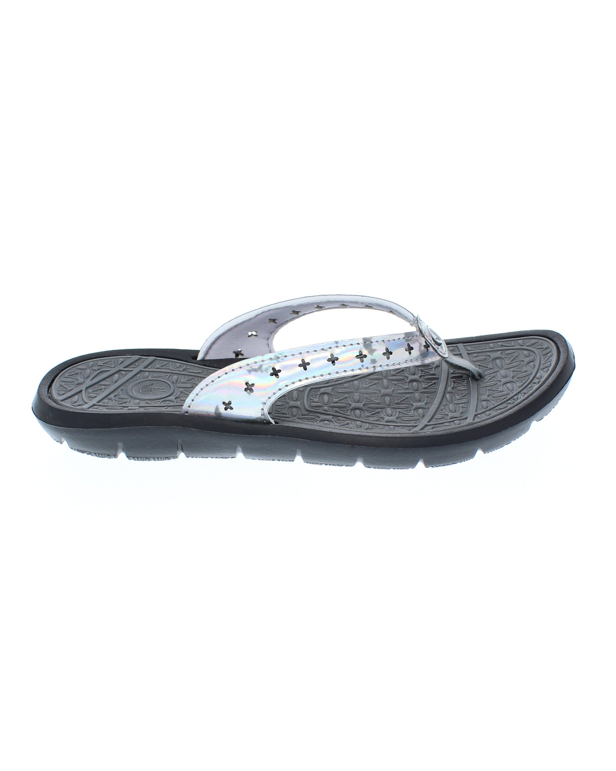 Women's Fame Flip-Flop Sandals - Black/Metallic