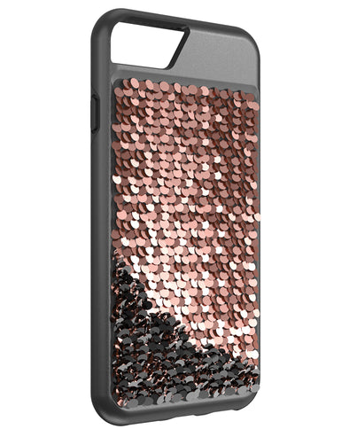 Shimmer Case for iPhone 6, iPhone 6s, iPhone 7, iPhone 8 - Black/Rose Gold