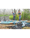 "Porter 9'6"" Inflatable Stand Up Paddle Board (ISUP) & Kayak with Accessories - Blue/Wood"