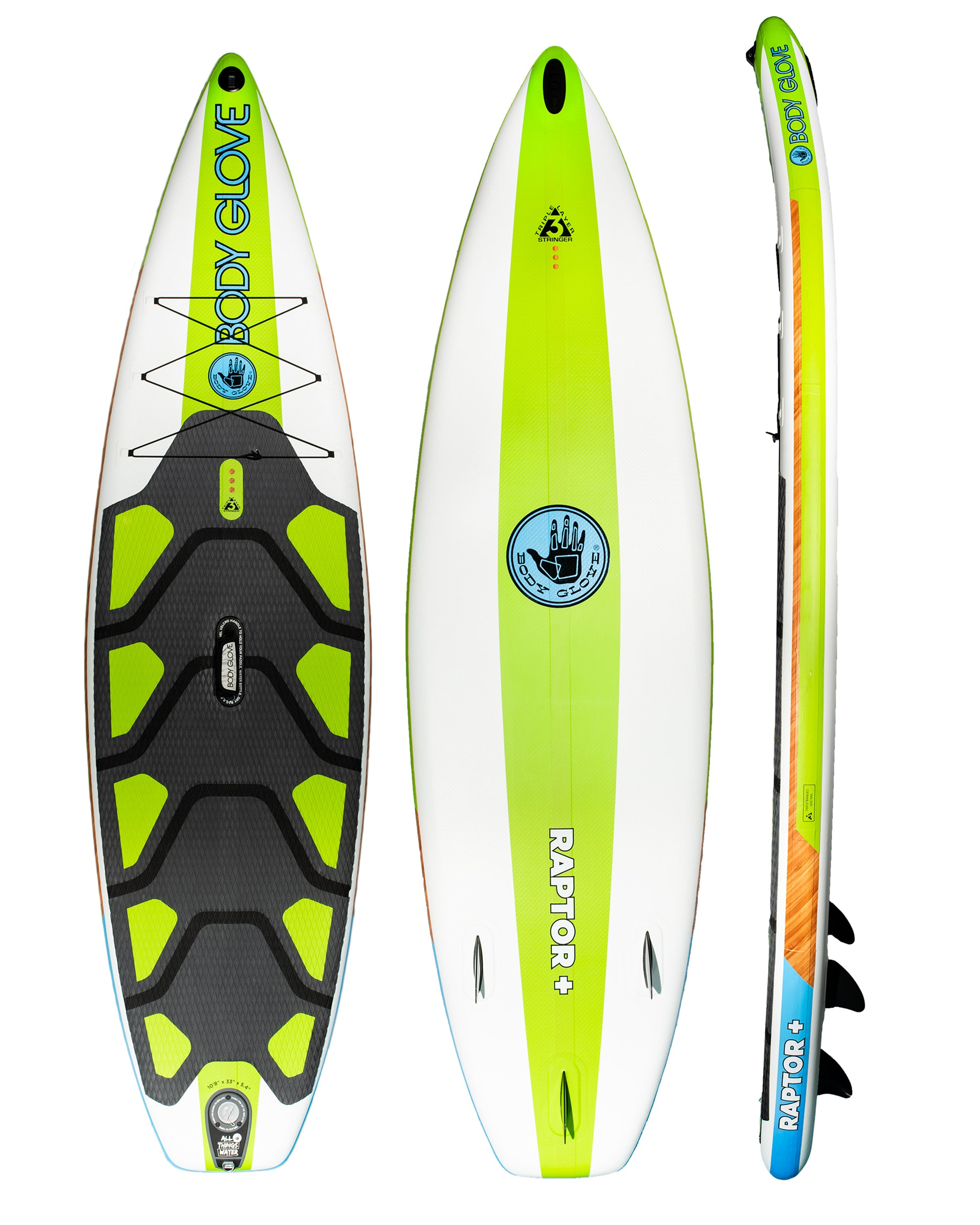 "Raptor Plus 10'8"" Inflatable Stand Up Paddle Board (ISUP) with Bag, Paddle & Pump"