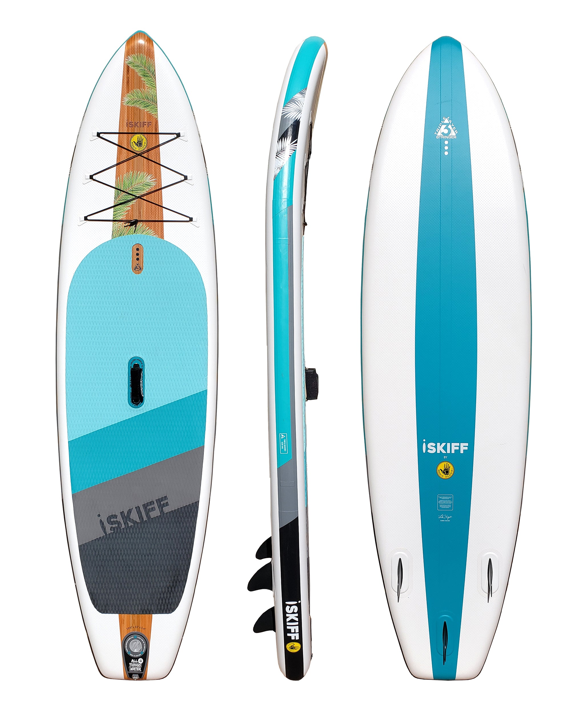 "iSkiff 10'6"" Inflatable Stand Up Paddle Board (ISUP) with Bag, Paddle & Pump"