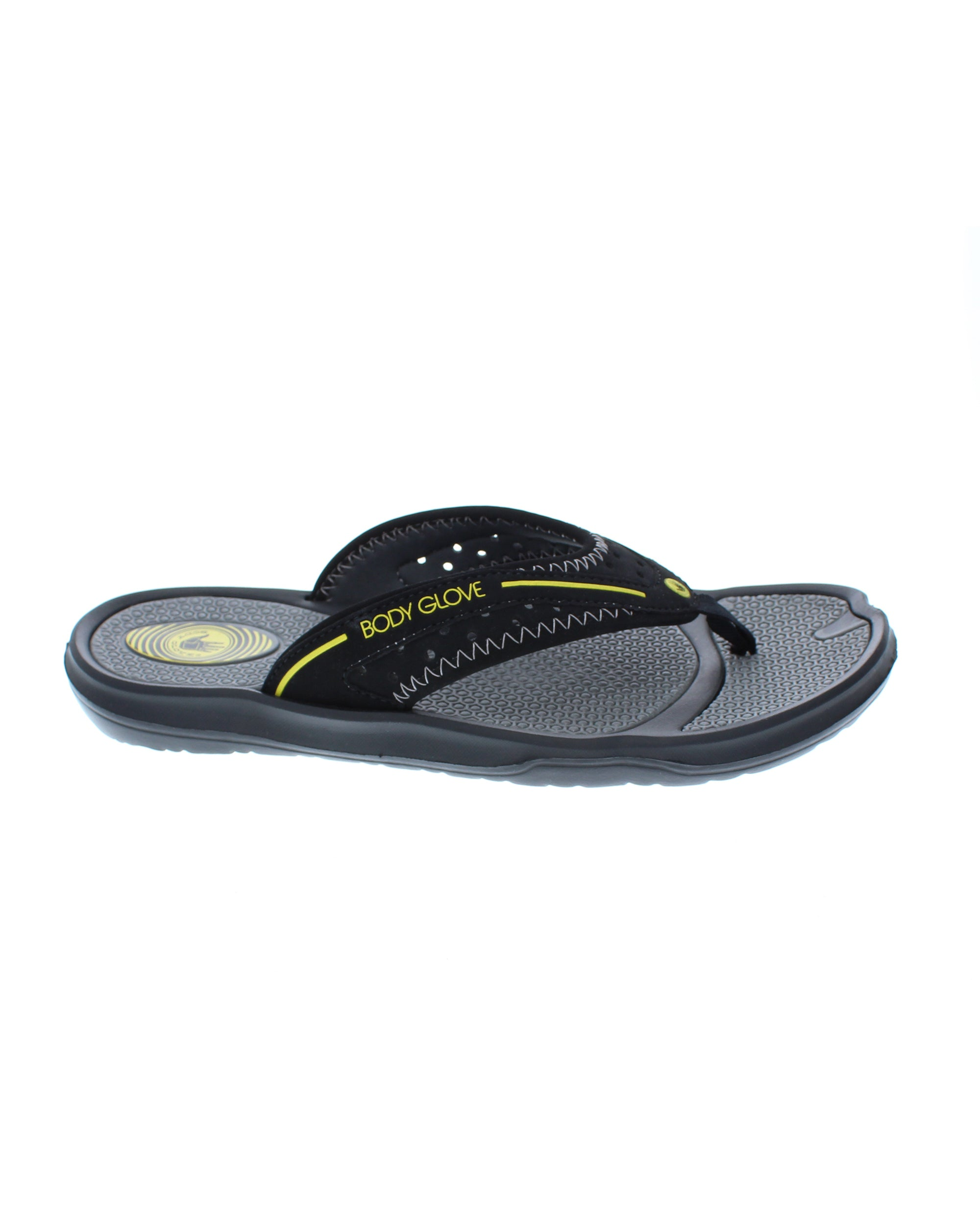 Men's Kona Flip Flop Sandal - Black/Yellow