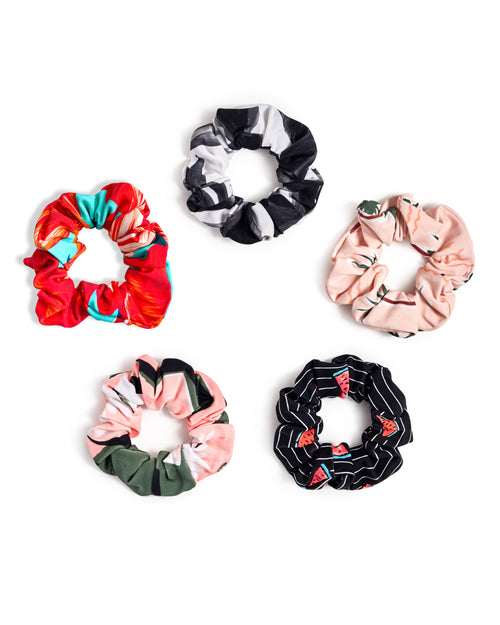 Printed Scrunchies 5-Pack - Multi