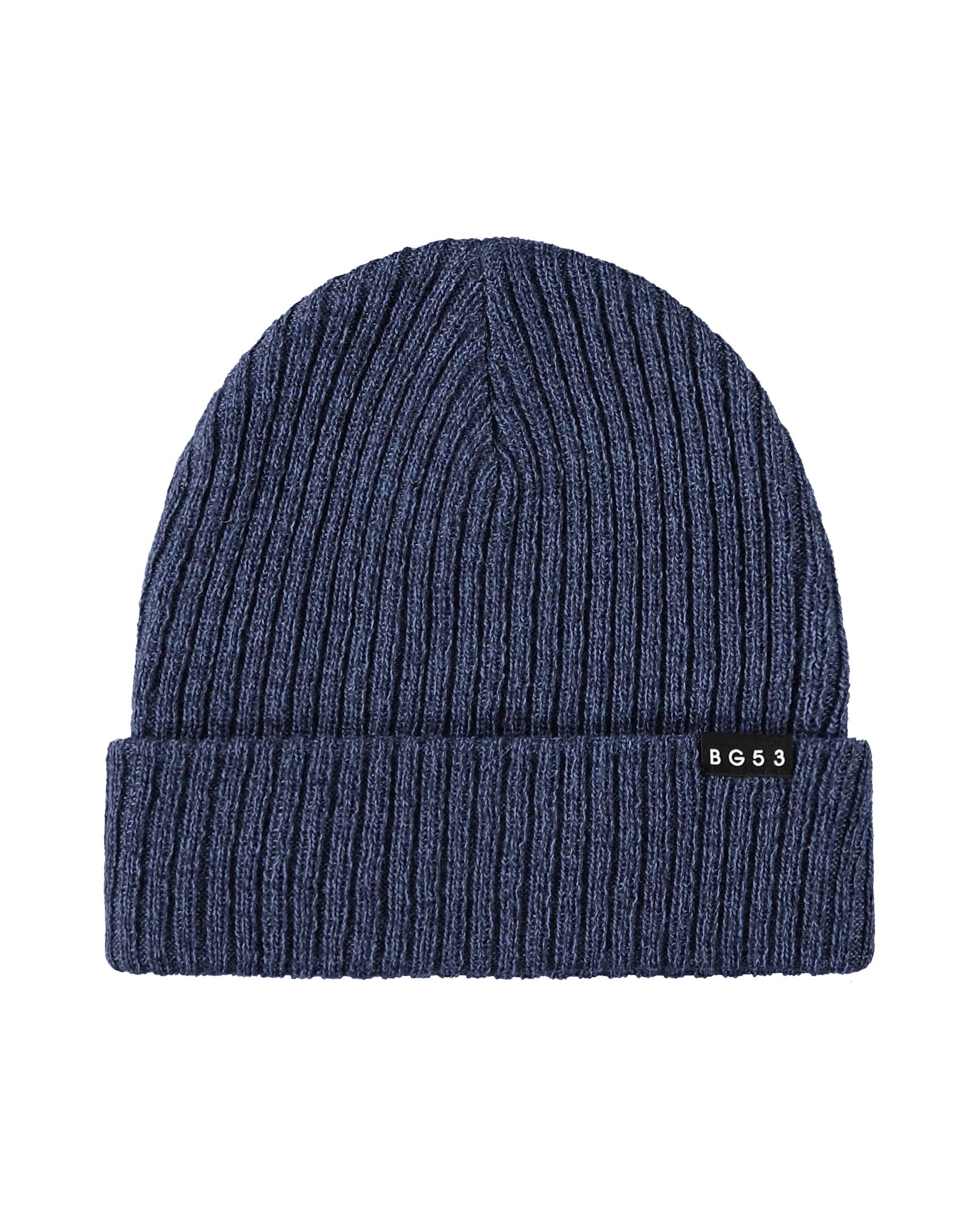 Unisex Knit Beanie with BG53 Rubber Logo - Navy