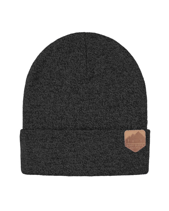 Unisex Knit Beanie with Mountain Patch - Black